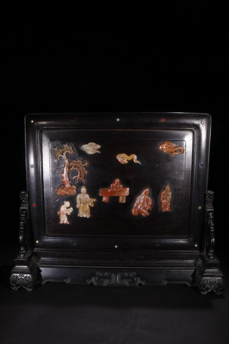 CHINESE SOAPSTONE INLAID ROSEWOOD TABLE SCREEN