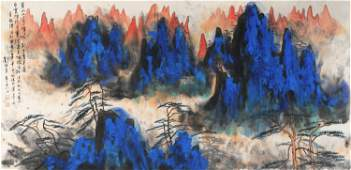 CHINESE SCROLL PAINTING OF MOUNTAIN VIEWS SIGNED BY LIU