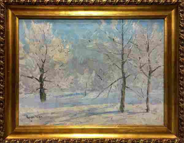 Oil painting Winter landscape Kogan-Shats Matvey