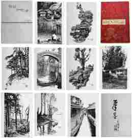 TEN PAGES OF CHINESE PEN DRAWINGS OF LANDSCAPE SIGNED