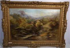 G. GOODMAN 19TH CENTURY OLD MILL OIL PAINTING ON CANVAS