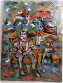 R MONTI Modern ABSTRACT OIL PAINTING Male Still Life