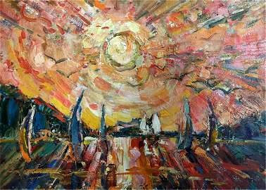 GLUSHCHENKO NIKOLAY PETROVICH Oil painting The sun