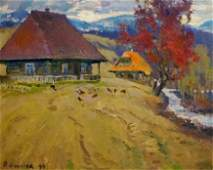 Oil painting Signs of autumn Mynka Alexander Fedorovich