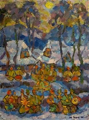 Oil painting Village gatherings Yuri Hertz