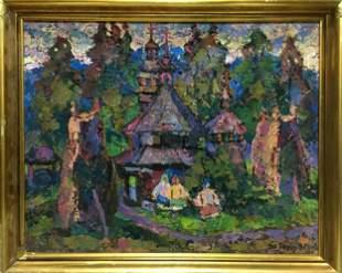 Oil painting Village landscape Gerts Yuriy Dmitriyevich