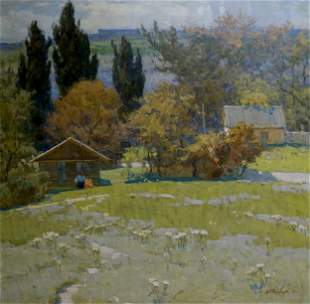 Oil painting Village Filbert Alexander Alexandrovich