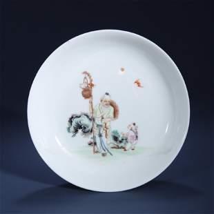 CHINESE PORCELAIN ENAMEL GLAZE FIGURES PLATE