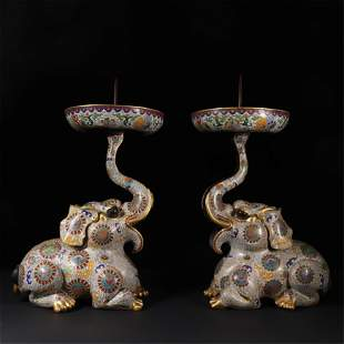 PAIR OF CHINESE CLOISONNE ELEPHANT CANDLE HOLDERS