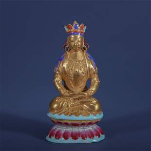 CHINESE PORCELAIN GOLD PAINTED FAMILLE ROSE SEATED