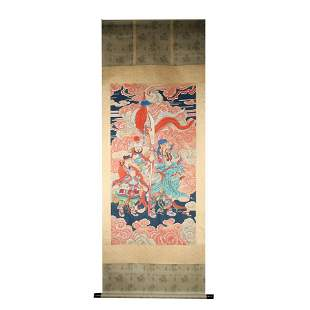 CHINESE SCROLL PAINTING OF WARRIORS SIGNED BY DING