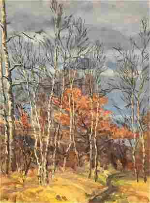 NO RESERVE Oil painting Autumn landscape Alexander