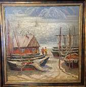 NO RESERVE Oil painting Fishing boats Shary Anatoly