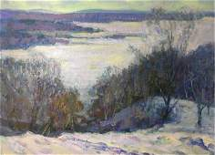 NO RESERVE Oil painting Winter time original picture