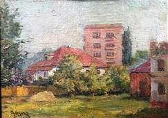 NO RESERVE City oil painting Lednev Dmitry