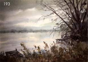 NO RESERVE Wind over the river watercolor painting