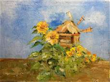 NO RESERVE Sunflower landscape oil painting