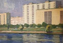 NO RESERVE Oil painting City river Khrustalenko Nikolay