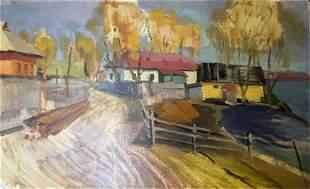 NO RESERVE Double oil painting Village