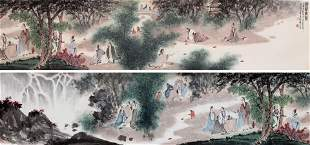 CHINESE HAND SCROLL PAINTING OF MEN IN WOOD SIGNED BY