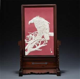 CHINESE PORCELAIN WHITE GLAZE EAGLE ON TREE PLAQUE