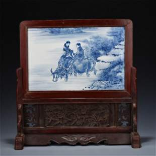 CHINESE PORCELAIN BLUE AND WHITE BOY ON OX PLAQUE