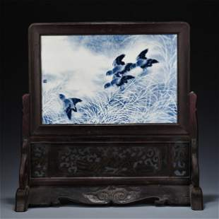 CHINESE PORCELAIN BLUE AND WHITE BRID AND FLOWER PLAQUE