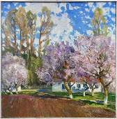 NO RESERVED Oil painting Blooming garden Mynka