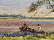 NO RESERVED Oil painting Romantic evening Les Vladimir