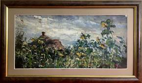 NO RESERVED Oil painting Landscape with sunflowers