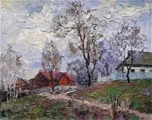 NO RESERVED Oil painting Rural street Serdyuk Boris