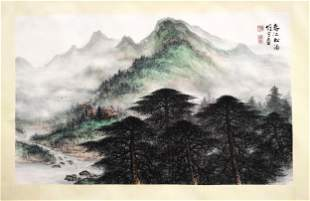 CHINESE SCROLL PAINTING OF MOUNTAIN VIEWS SIGNED BY LI