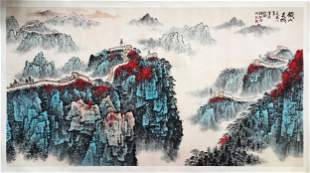 LARGE CHINESE SCROLL PAINTING OF MOUNTAIN VIEWS SIGNED