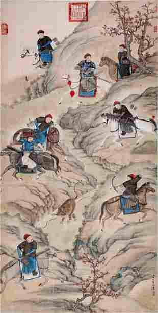 CHINESE SCROLL PAINTING OF HUNTING SIGNED BY LANG
