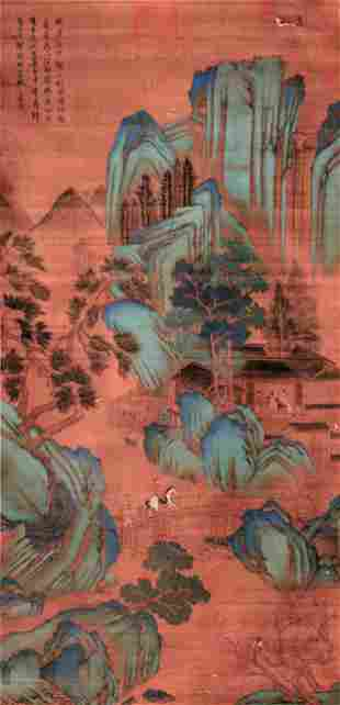 CHINESE SCROLL PAINTING OF MOUNTAIN VIEWS SIGNED BY WEN