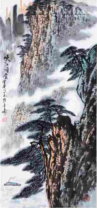CHINESE SCROLL PAINTING OF MOUNTAIN VIEWS SIGNED BY