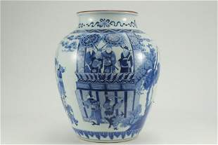 CHINESE PORCELAIN BLUE AND WHITE FIGURES AND STORY