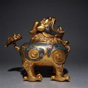 CHINESE CLOISONNE GILT BRONZE BEAST INCENSE CAGE