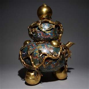 CHINESE CLOISONNE GILT BRONZE DOUBLE GOURD INCENSE CAGE