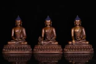 THREE CHINESE BRONZE SEATED BUDDHA