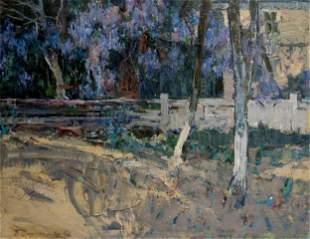 PETER KUZMICH STOLYARENKO Oil painting Home yard