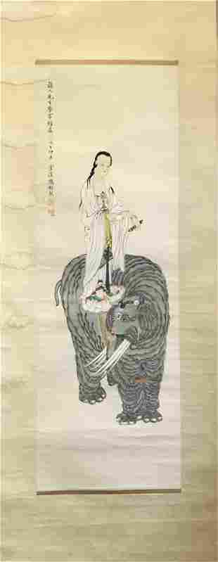 NO RESERVED CHINESE SCROLL PAINTING OF GUANYIN ON