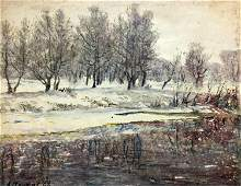NO RESERVED Pencil painting Winter landscape Alexander