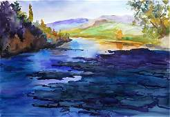 NO RESERVED Watercolor painting Mountain river Serdyuk