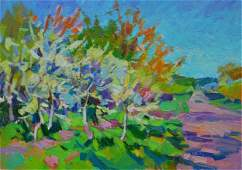 NO RESERVED Oil painting Cherry garden Tepeta