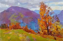 NO RESERVED Oil painting Autumn in the mountains Tepeta