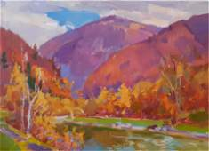 NO RESERVED Oil painting River among mountains Tepeta