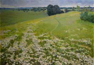 Artist unknown Oil painting Meadows landscape
