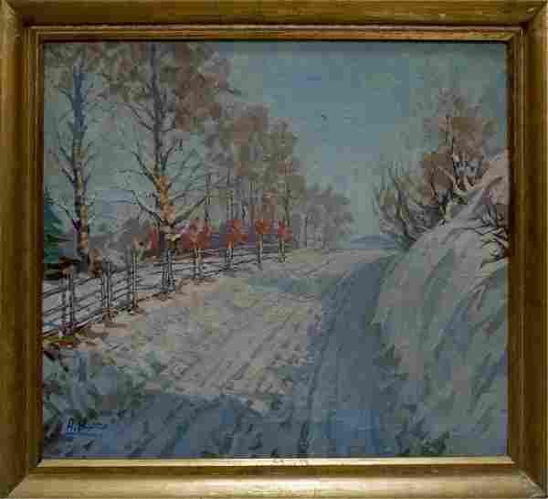 Oil painting Winter landscape