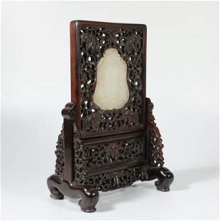 CHINESE WHITE JADE PLAQUE INLAID ROSEWOOD HONGMU TABLE
